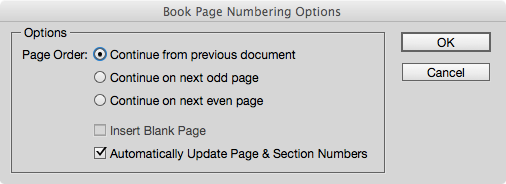 Page Numbering Options in the book