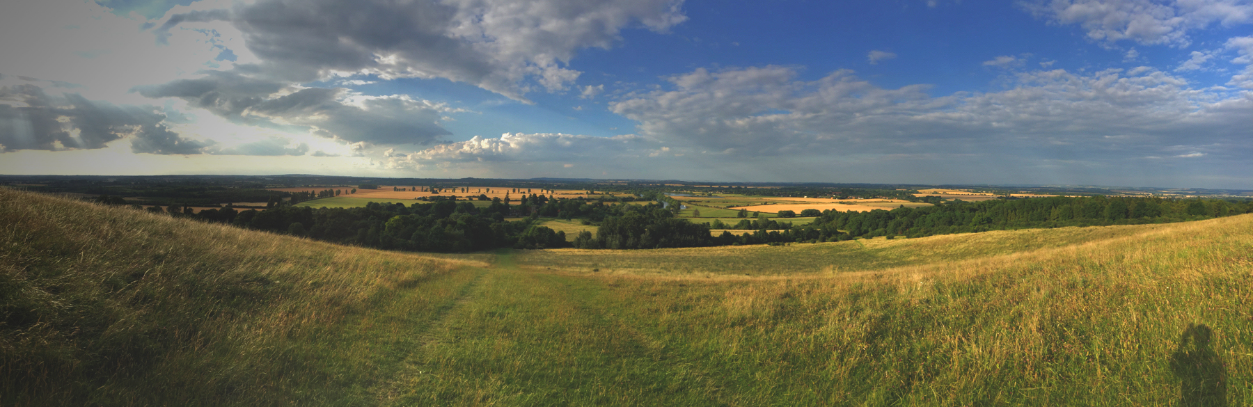 My shadow bottom right. View from Wittenham Clumps by the Thames at Dorchester.