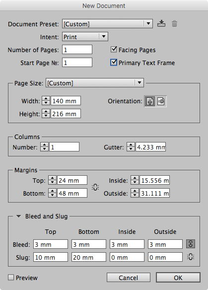 Setting the margins when you start a new document. All boxes are calculators, so enter a fraction like 216/9