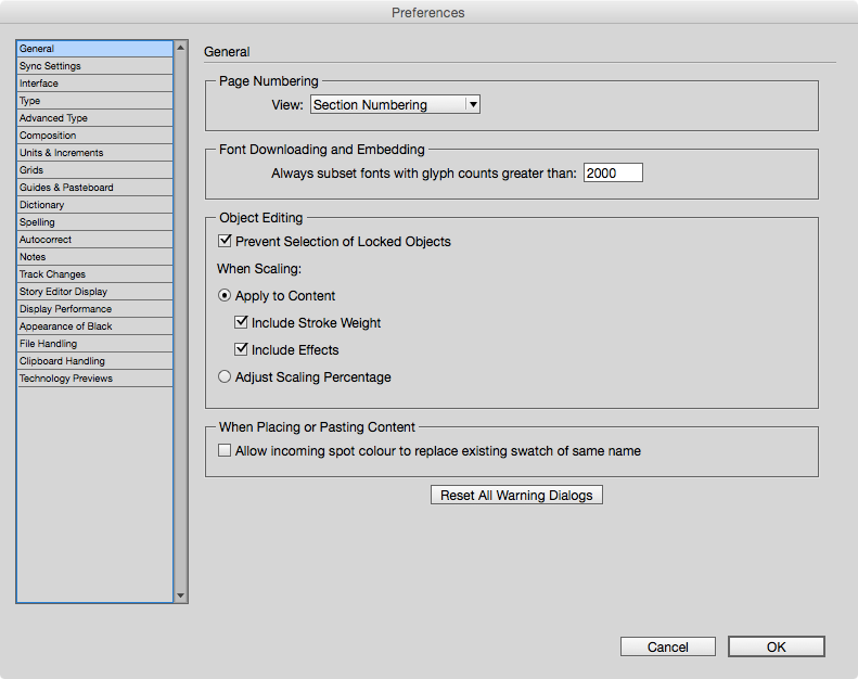 InDesign preference set for all of your future document