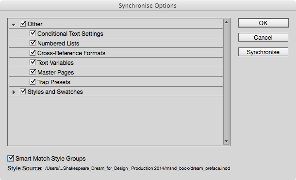 You may want to turn off Mster Pages in the synchronise options because you may have different headers