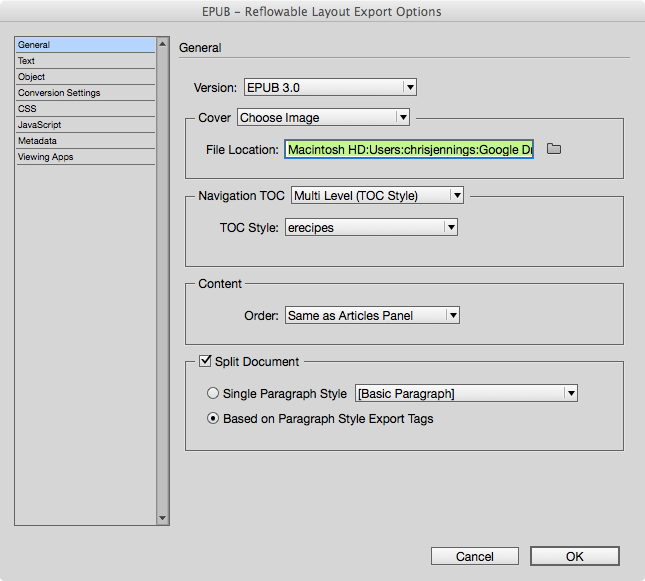 Exporting to ePub reflowable General Section