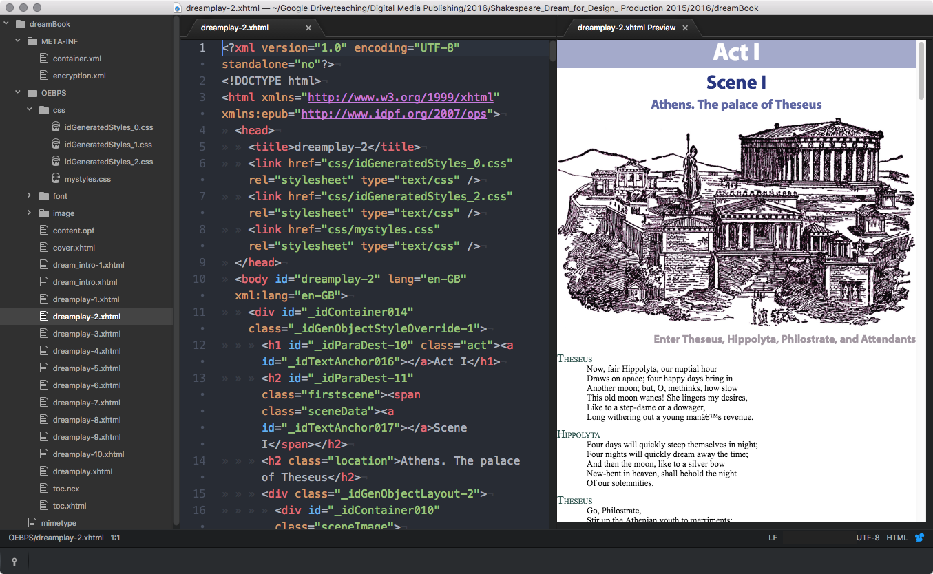 With the extension to Atom - HTML-Preview we can see the results of our changes right away.