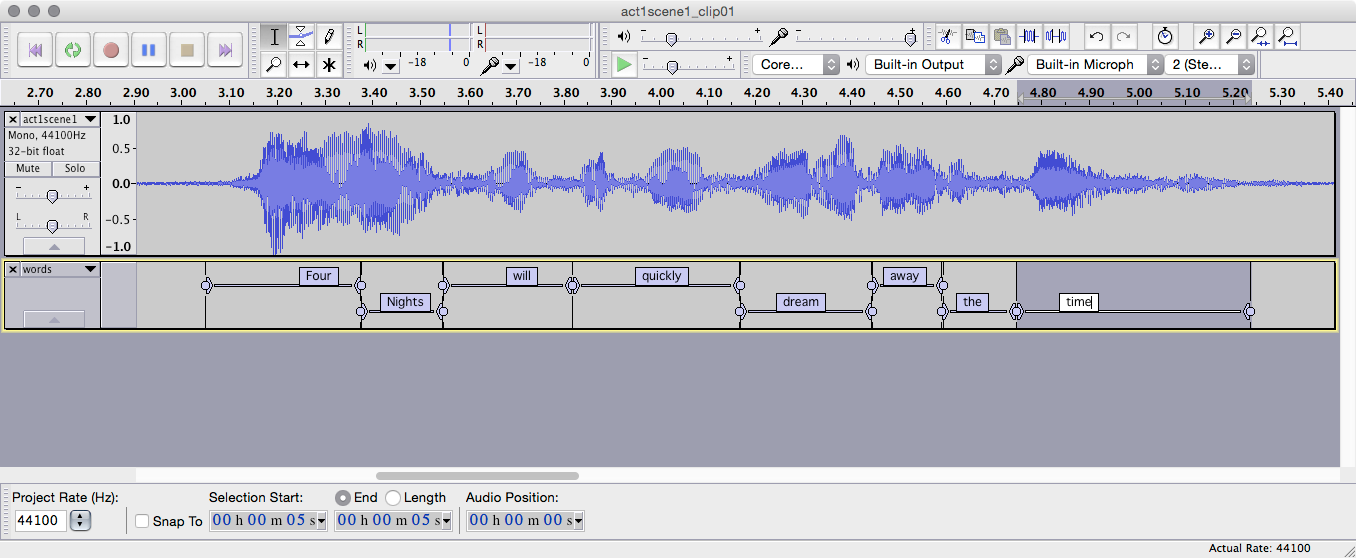Audacity can help locate words spoken within the audio file