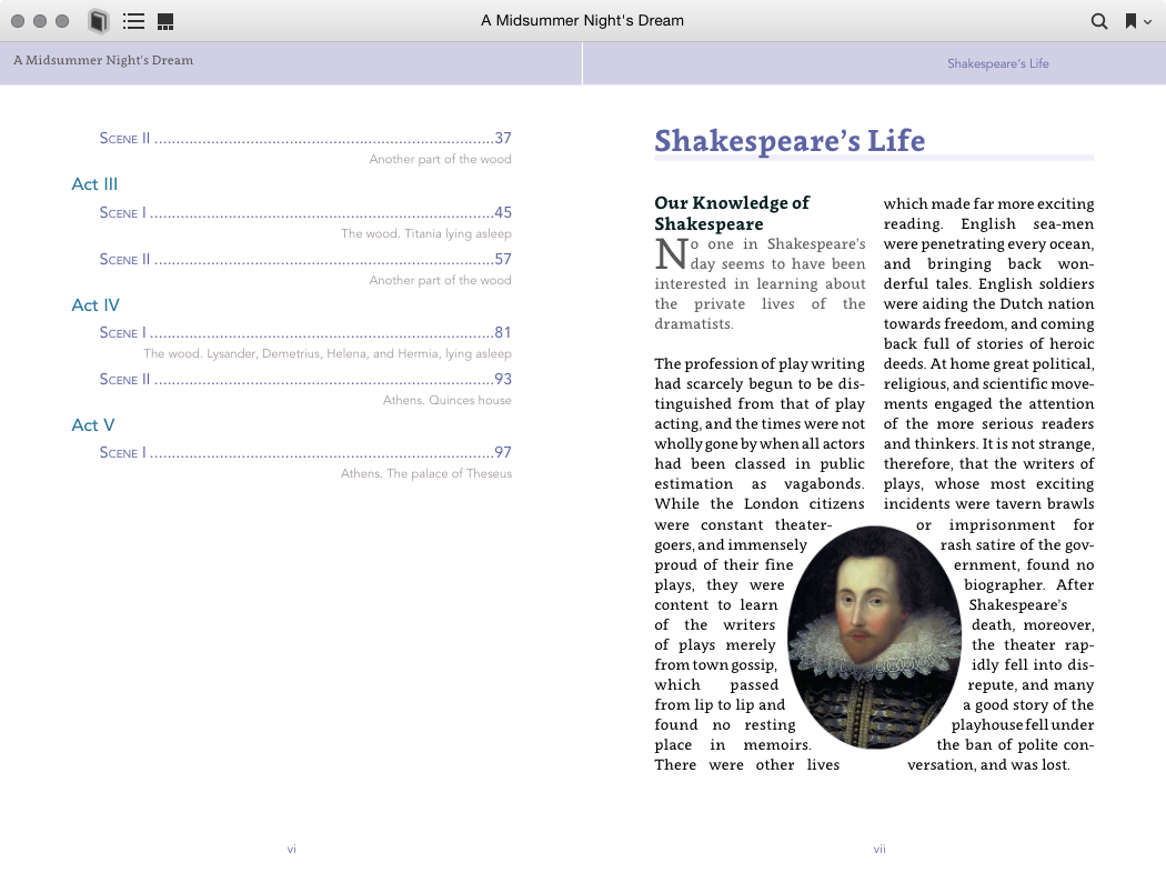 A sample spread in iBooks