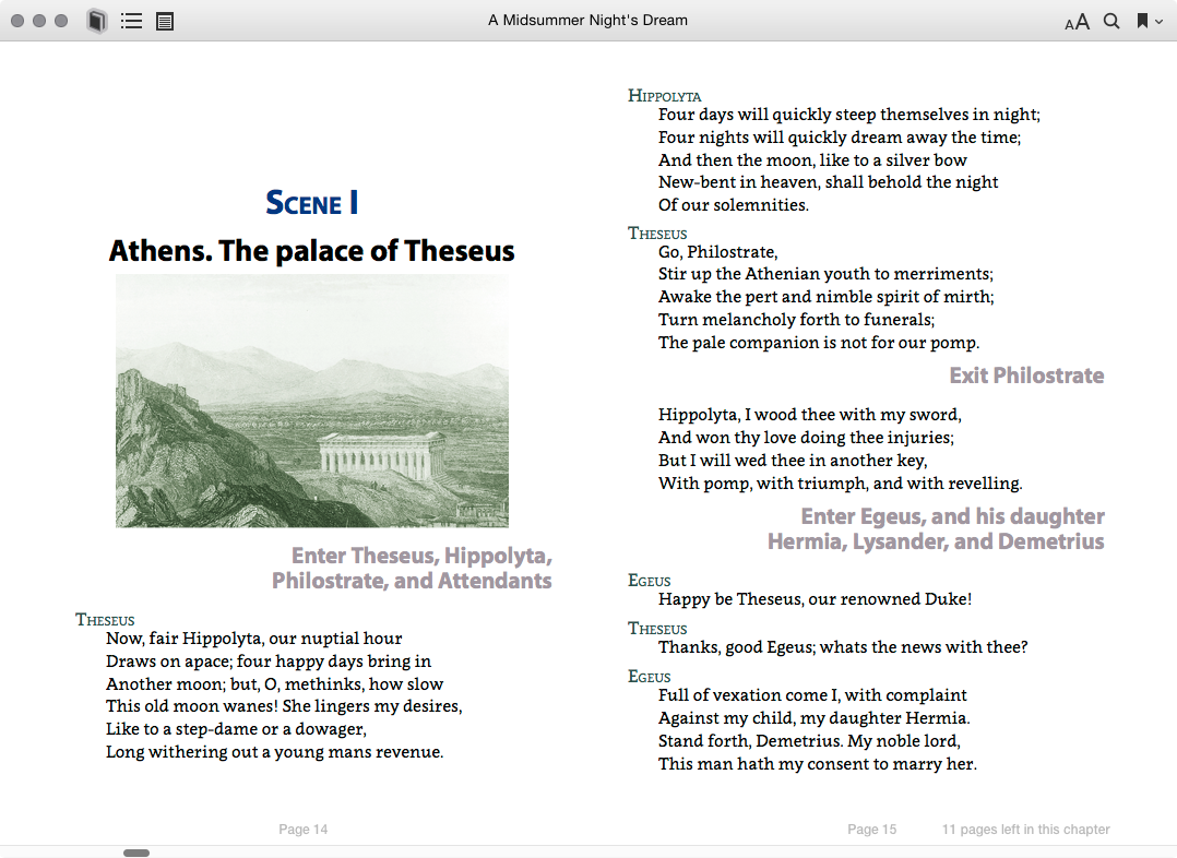 A sample double page in Apple iBooks