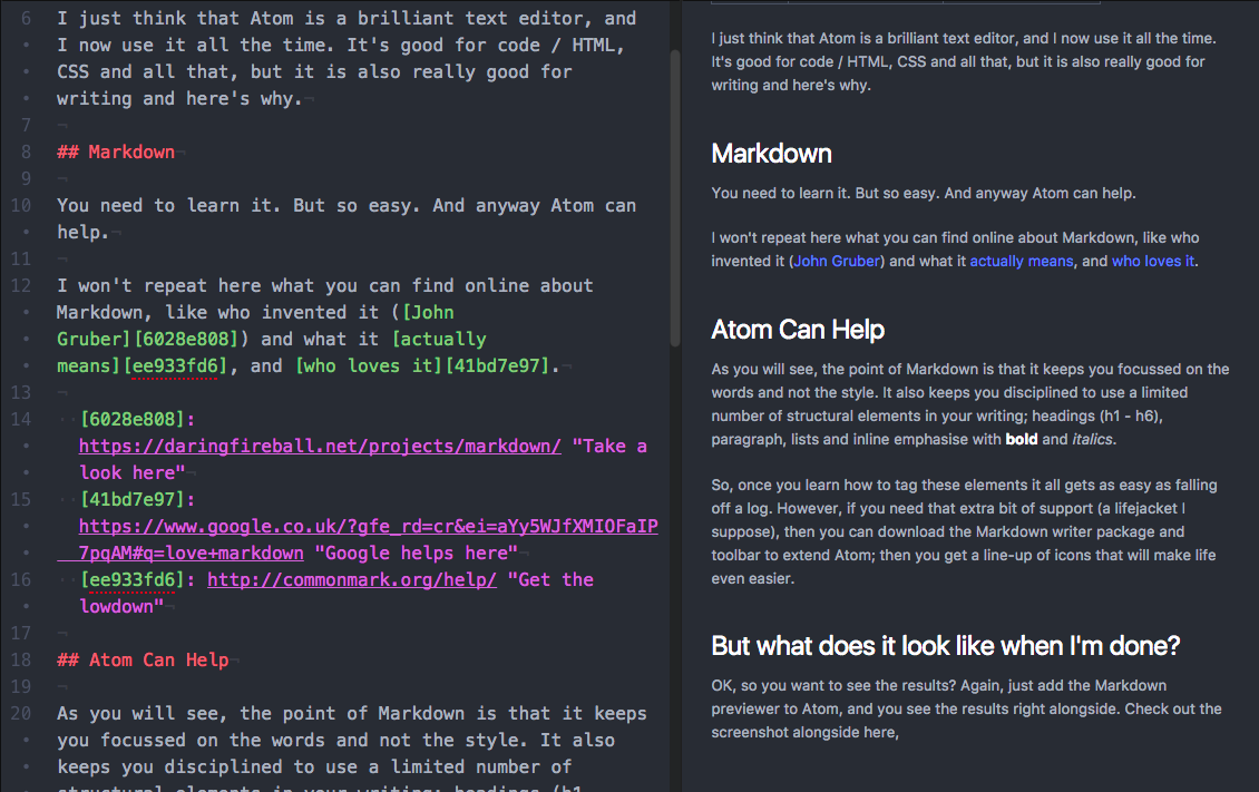 Markdown previewer shows this text