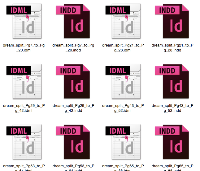 The result shows IDML files and InDesign files