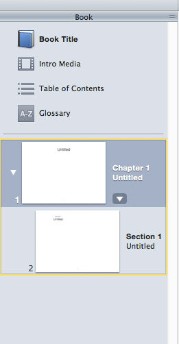 The layouts part of the iBooks Author toolset