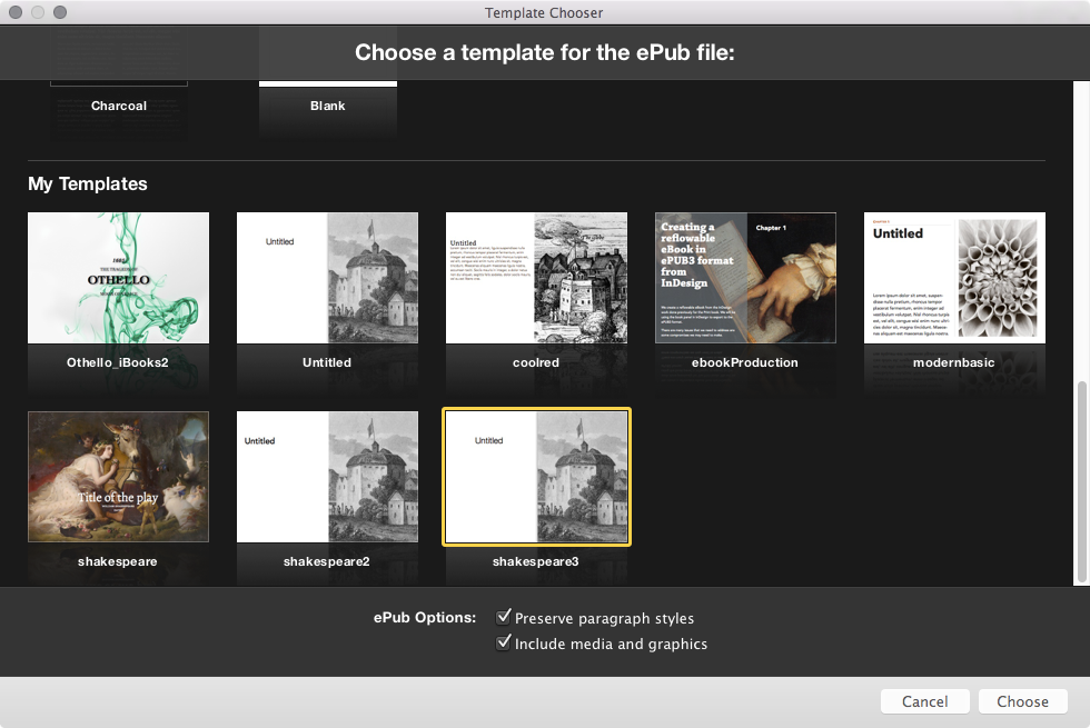 Choosing a template when importing the ePub