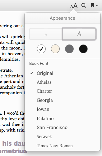 The appearance controller for iBooks on the MAC
