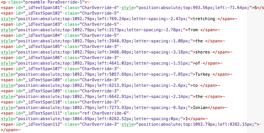 Look at the complexity of the code in the ePub HTML