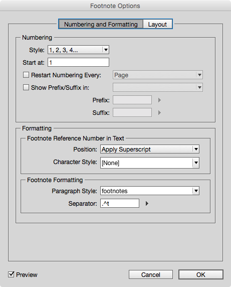 InDesign dialogue for controlling the display of the footnotes