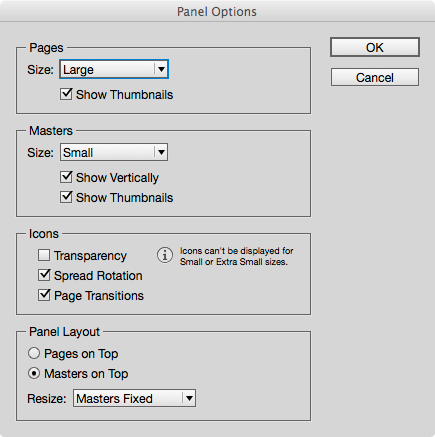 Configure the pages panel to suit your needs