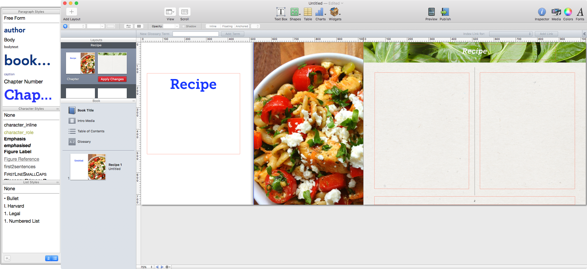 The image here shows that the name of `Chapter` has been changed to `Recipe`.