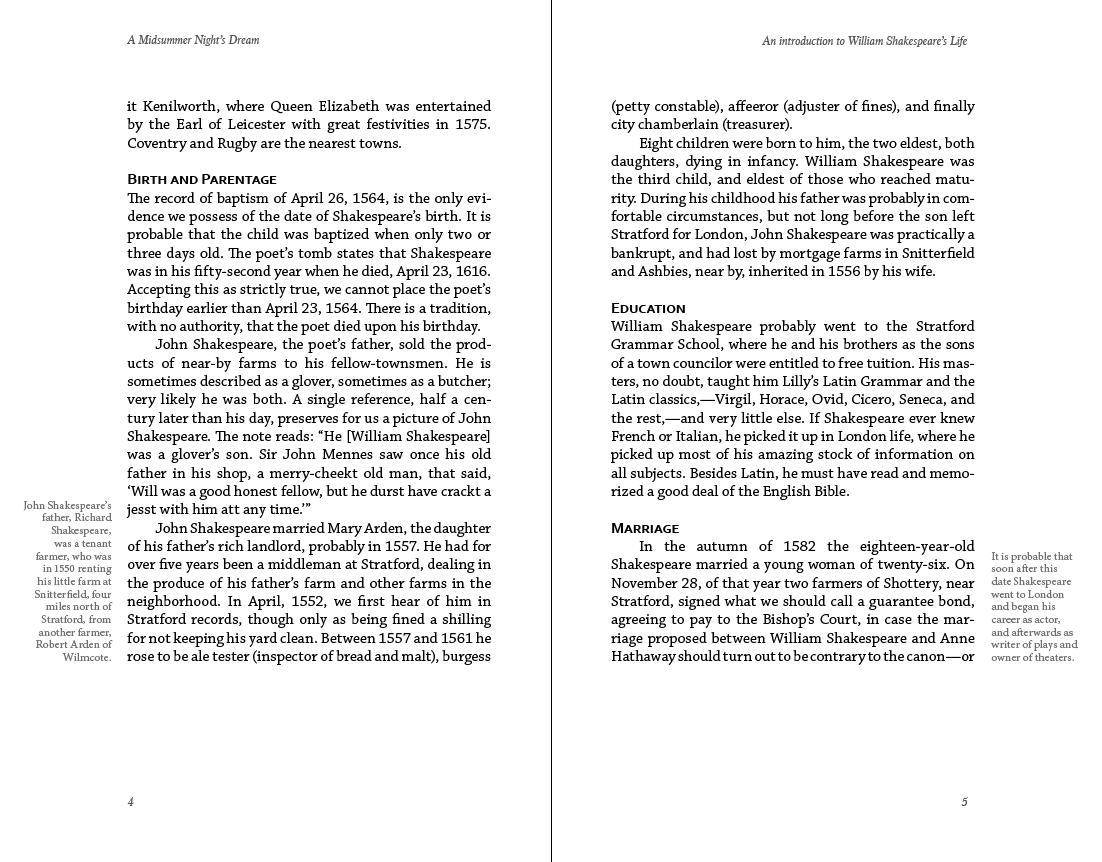 A spread with side notes. You see that the text alignment (left or right), is automatic depending on recto or verso achieved by the paragraph style using Towards the Spine.