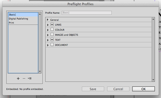 Choose a preflight profile or create a new one