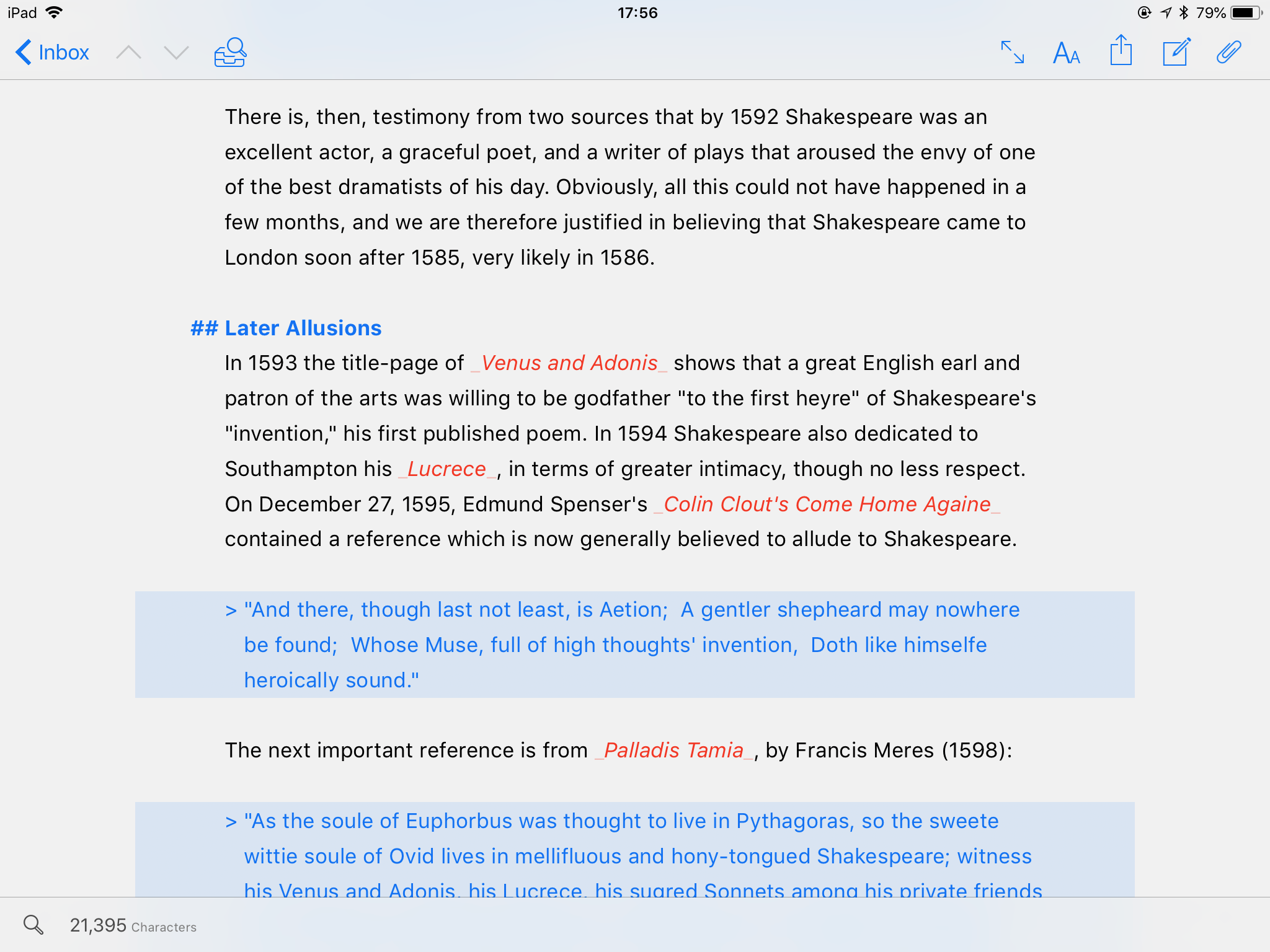 Ulysses, a writing app