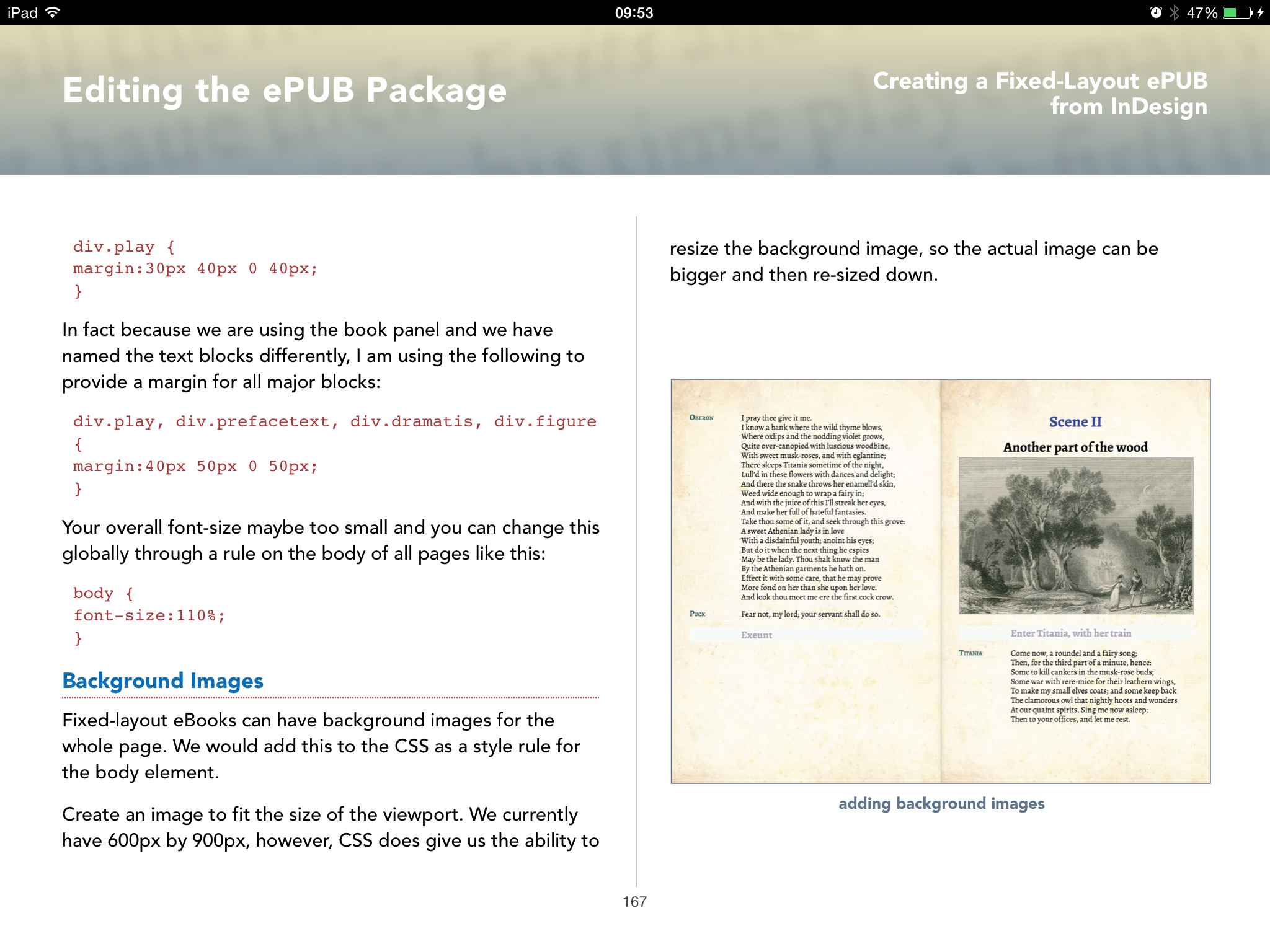 spread show editing the ePub package