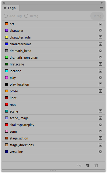 The tags in InDesign after importing the DTD