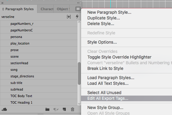 Look for Edit All Export Tags... in the paragraph styles menu