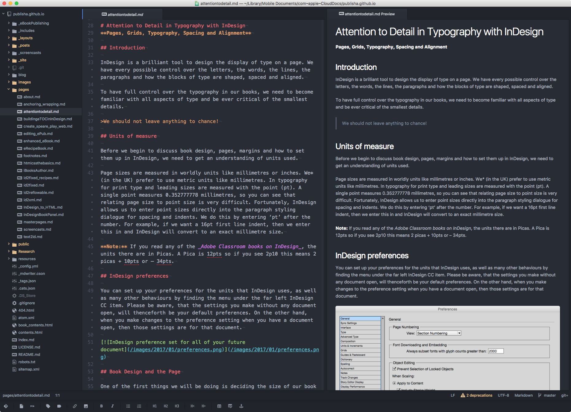 Here is Atom in use to edit a markdown page with a preview on the right