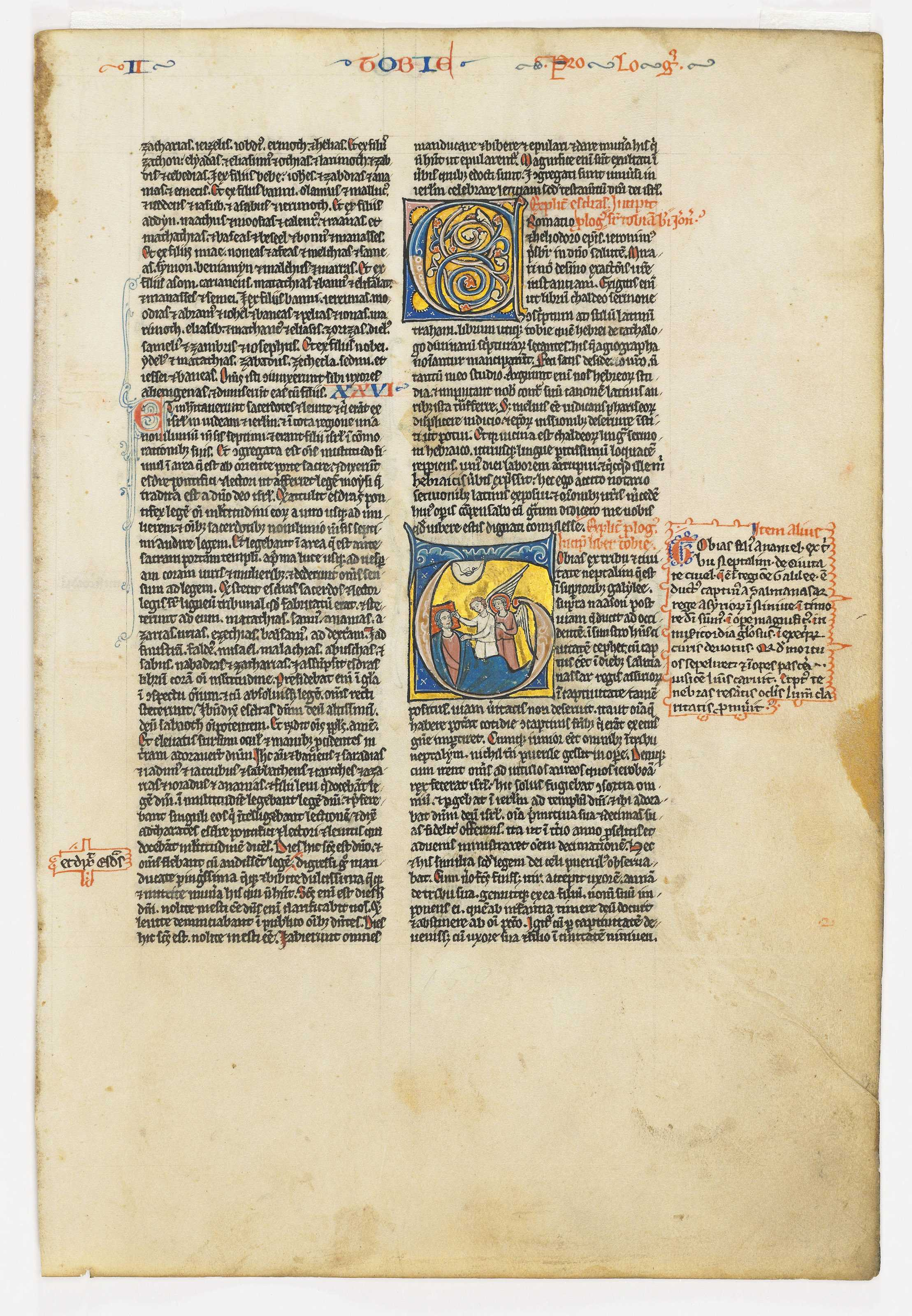 a leaf from the Chudleigh Bible, in Latin, illuminated manuscript on vellum - north-eastern France, c.1220-30