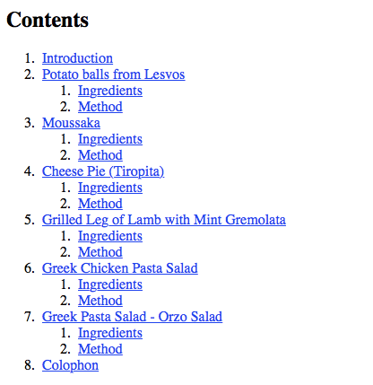 A sample table of contents