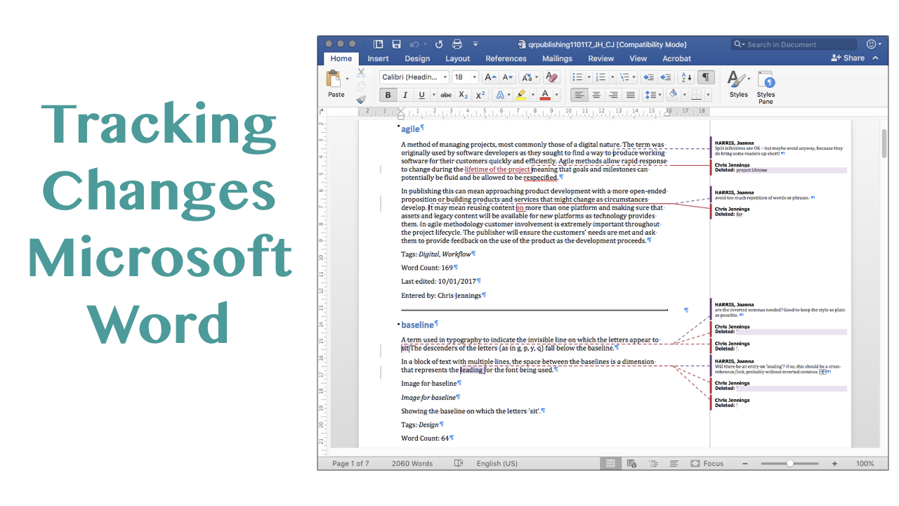 Tracking the changes with Microsoft Word