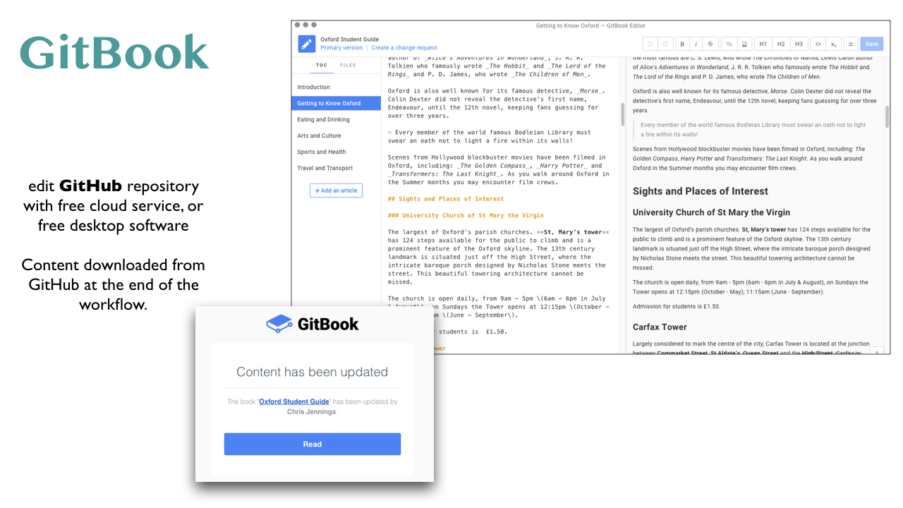 GitBook with an alert to the chief editor